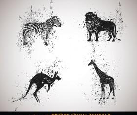 Vector Grungy Animals Symbols set 01