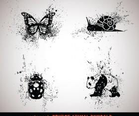 Vector Grungy Animals Symbols set 03