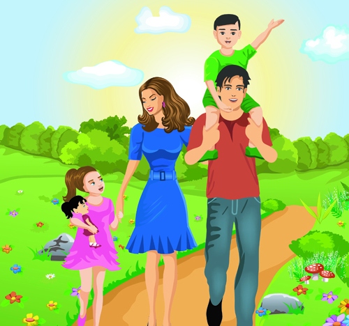 Vector Happy family together design elements 01