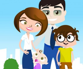 Vector Happy family together design elements 04