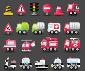 Set of Icons transportation vector 03