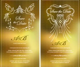 Invitation gold card design vector graphics 01