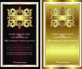 Invitation gold card design vector graphics 02