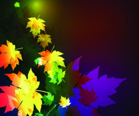 Neon lights with maple leaves design vector 01