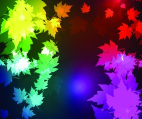Neon lights with maple leaves design vector 02