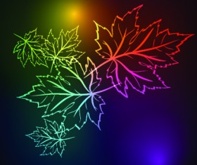Neon lights with maple leaves design vector 03