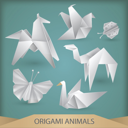 Various origami animals design vector material 05