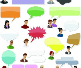 People with speech bubbles design elements 01