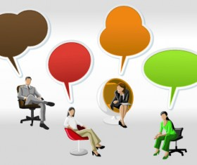 People with speech bubbles design elements 03