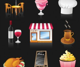 Restaurant Elements vector icons