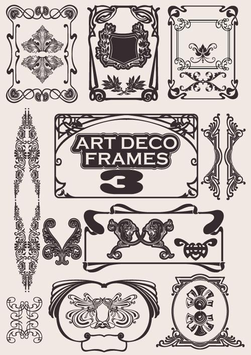 Retro style frames design element 01