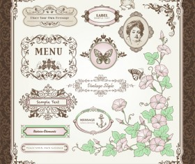 Retro style frames with ornament vector 01