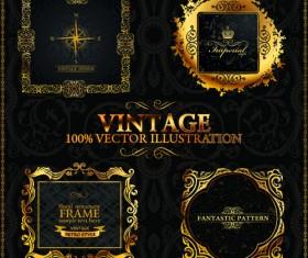 Vintage frames with ornaments design elements vector 02