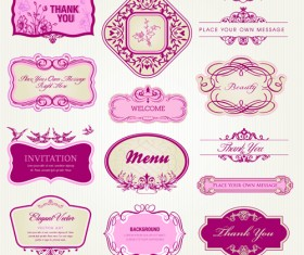 Retro style frames with ornament vector 02