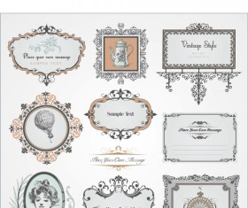 Retro style frames with ornament vector 03