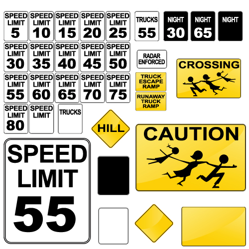 Different Road signs design vector 01