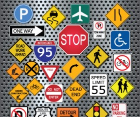 Different Road signs design vector 02