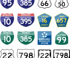 Different Road signs design vector 03