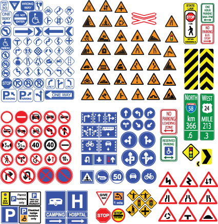 Different Road signs design vector 04