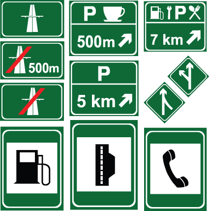 Different Road signs design vector 05