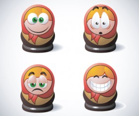 Funny Russia style smileys icons vector 01