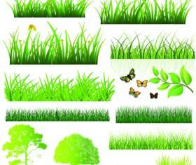 Vector Green Grass Elements set 02