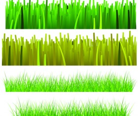 Vector Green Grass Elements set 03
