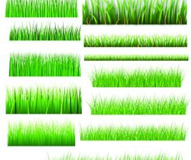 Vector Green Grass Elements set 04