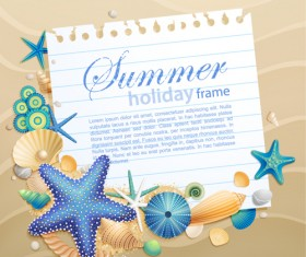 Shells and Starfishe holiday frame elements vector 01