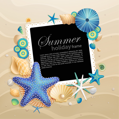 Shells and Starfishe holiday frame elements vector 02