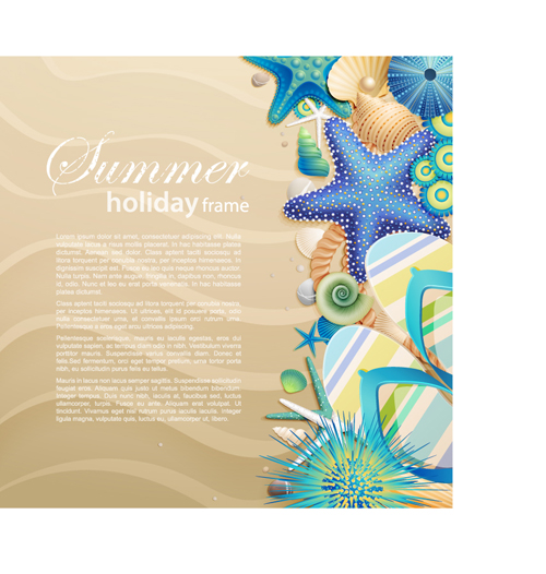 Shells and Starfishe holiday frame elements vector 03