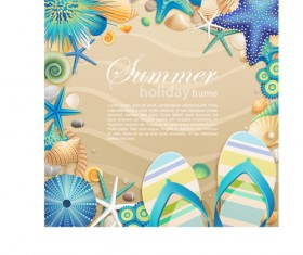 Shells and Starfishe holiday frame elements vector 04