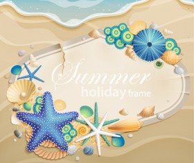 Shells and Starfishe holiday frame elements vector 05