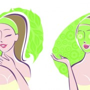 Link toWoman with spa salon elements vector 02