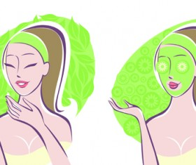Woman with Spa Salon elements vector 02