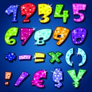 Link toSparkling alphabet and numbers design vector 01