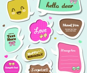 Cute Speech Bubbles for you text vector 08