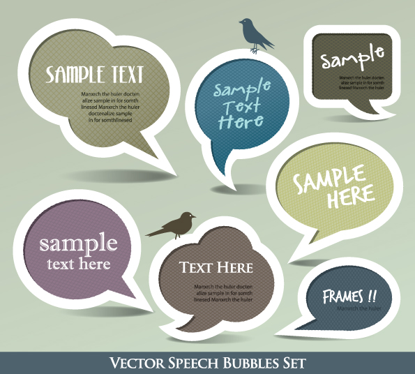 Cute Speech Bubbles for you text vector 05
