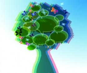 Tree cloud information labels design vector 02