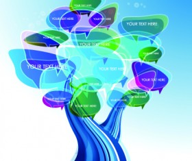 Tree cloud information labels design vector 03