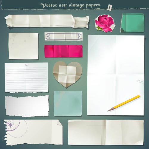 Vector Old Paper design elements set 05