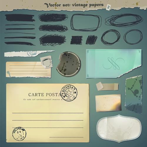 Vector Old Paper design elements set 06