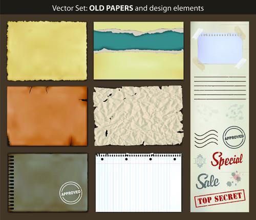 Vector Old Paper design elements set 07