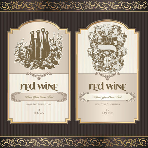 Vintage Elements of Wine Labels vector material 01 - Vector Label ...