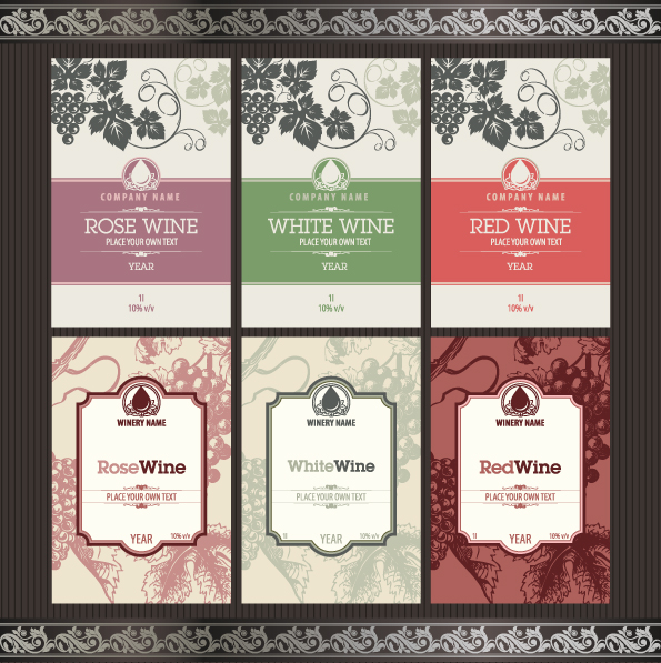 vintage elements of wine labels vector material 02 vector label free download. Black Bedroom Furniture Sets. Home Design Ideas