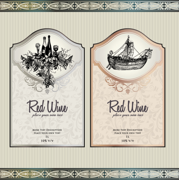 vintage elements of wine labels vector material 03 vector label free download. Black Bedroom Furniture Sets. Home Design Ideas