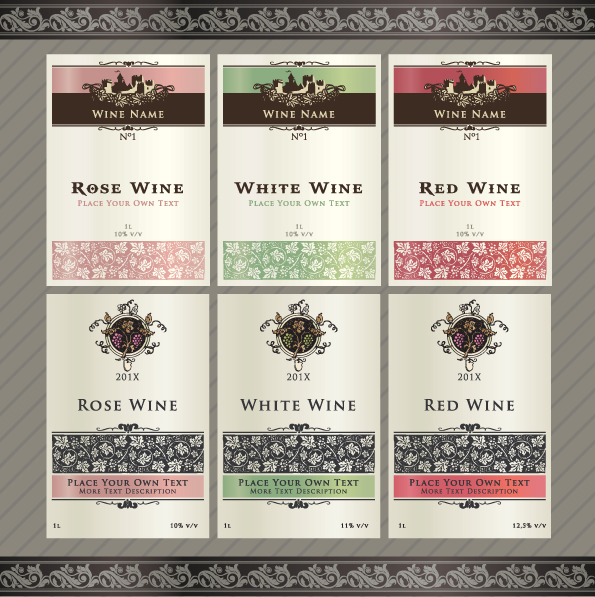 Vintage Elements Of Wine Labels Vector Material 04  Free Wine Label Template