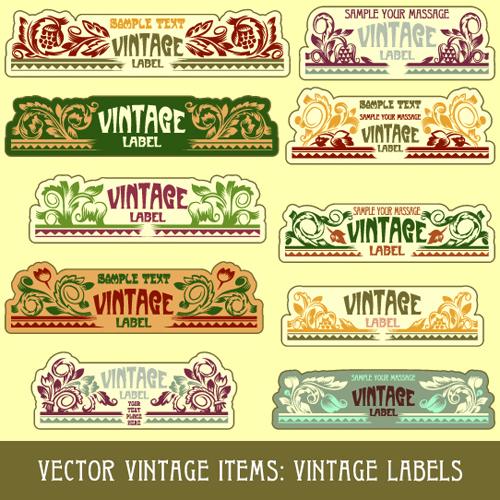 Vintage Label art design vector set 03 - Vector Label free ...