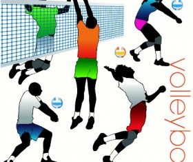 Volleyball silhouettes vector set