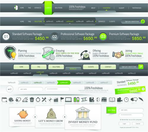 Vector Web Elements Menu art graphic 01